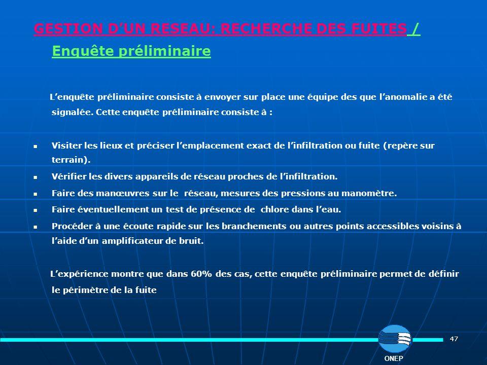 GESTION D'UN RESEAU: RECHERCHE DES FUITES / Enquête préliminaire