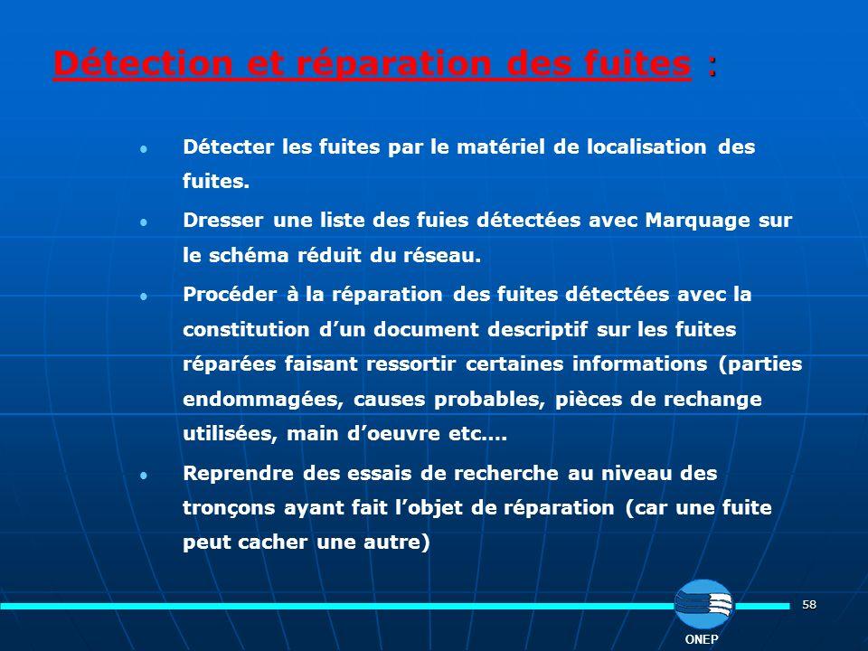 Détection et réparation des fuites :