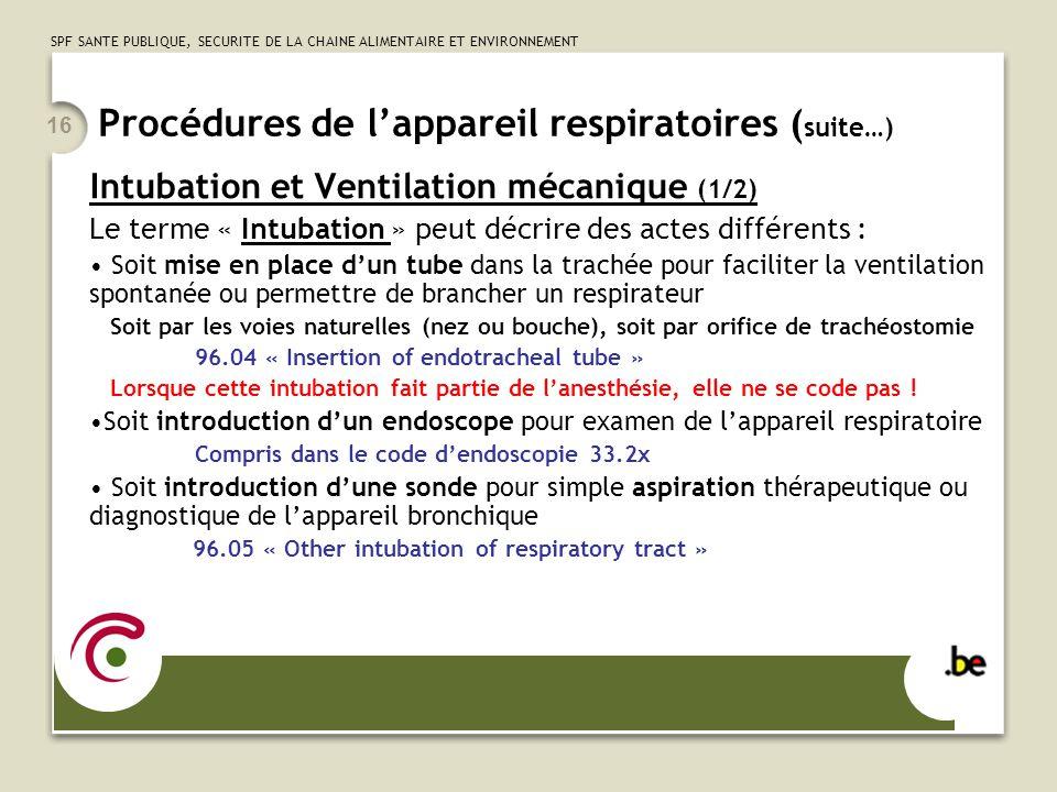 Procédures de l'appareil respiratoires (suite…)