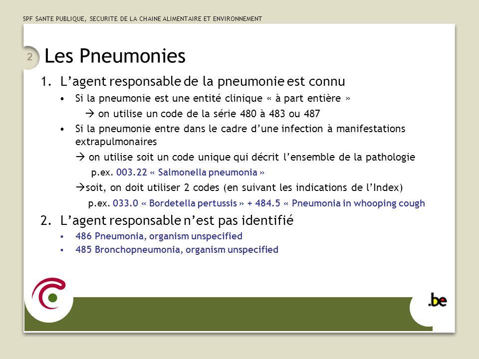 Les Pneumonies L'agent responsable de la pneumonie est connu