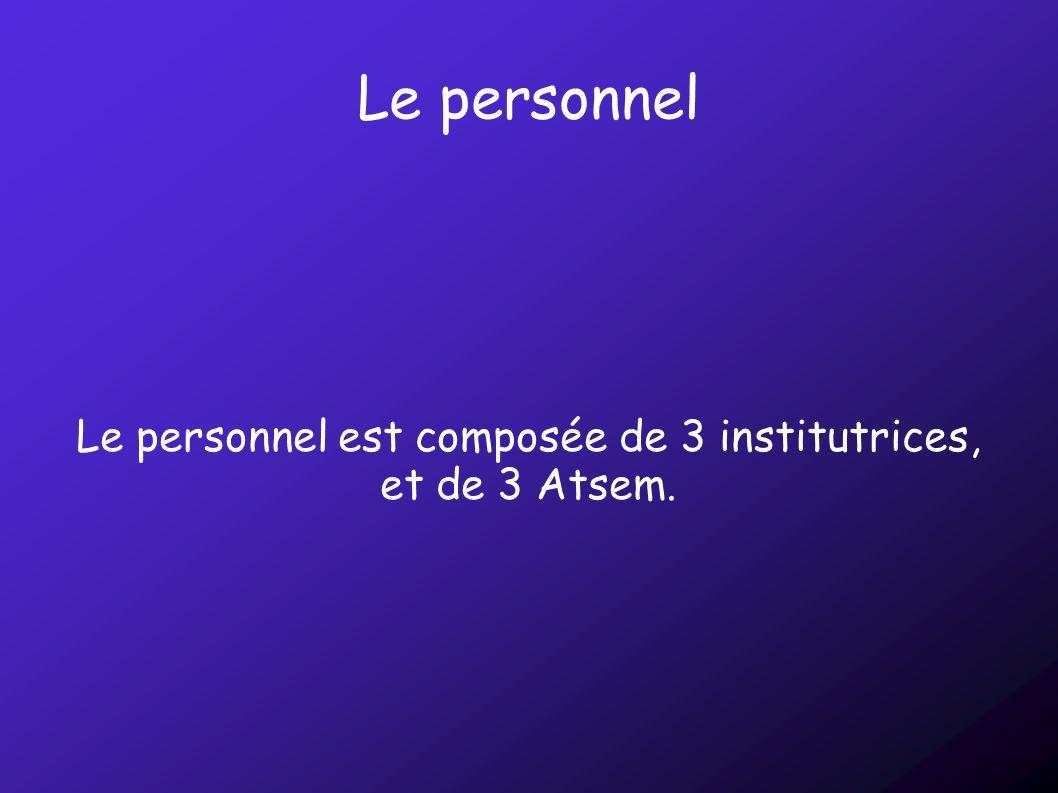 Le personnel est composée de 3 institutrices, et de 3 Atsem.