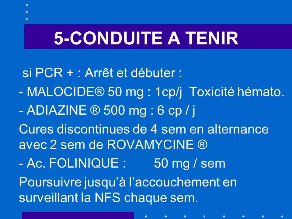 5-CONDUITE A TENIR si PCR + : Arrêt et débuter :