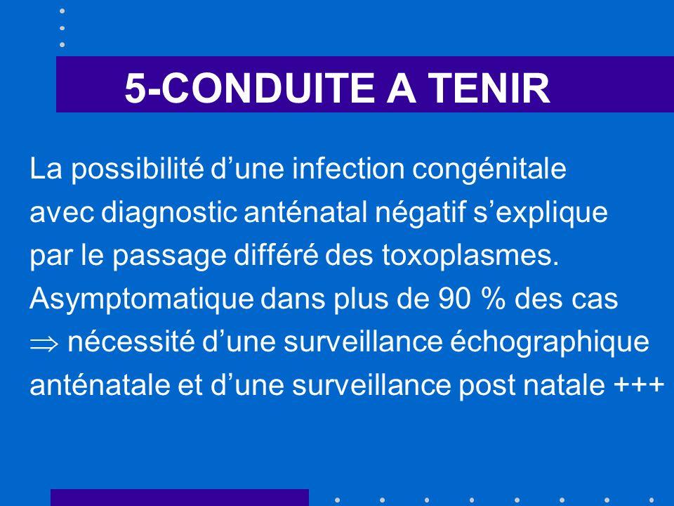 5-CONDUITE A TENIR La possibilité d'une infection congénitale