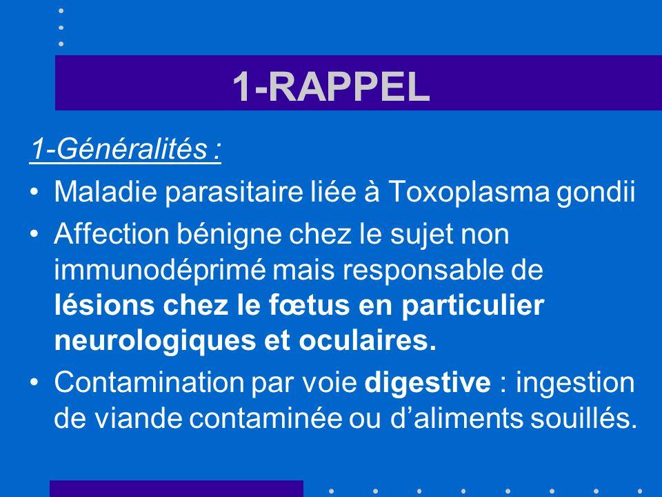 1-RAPPEL 1-Généralités : Maladie parasitaire liée à Toxoplasma gondii