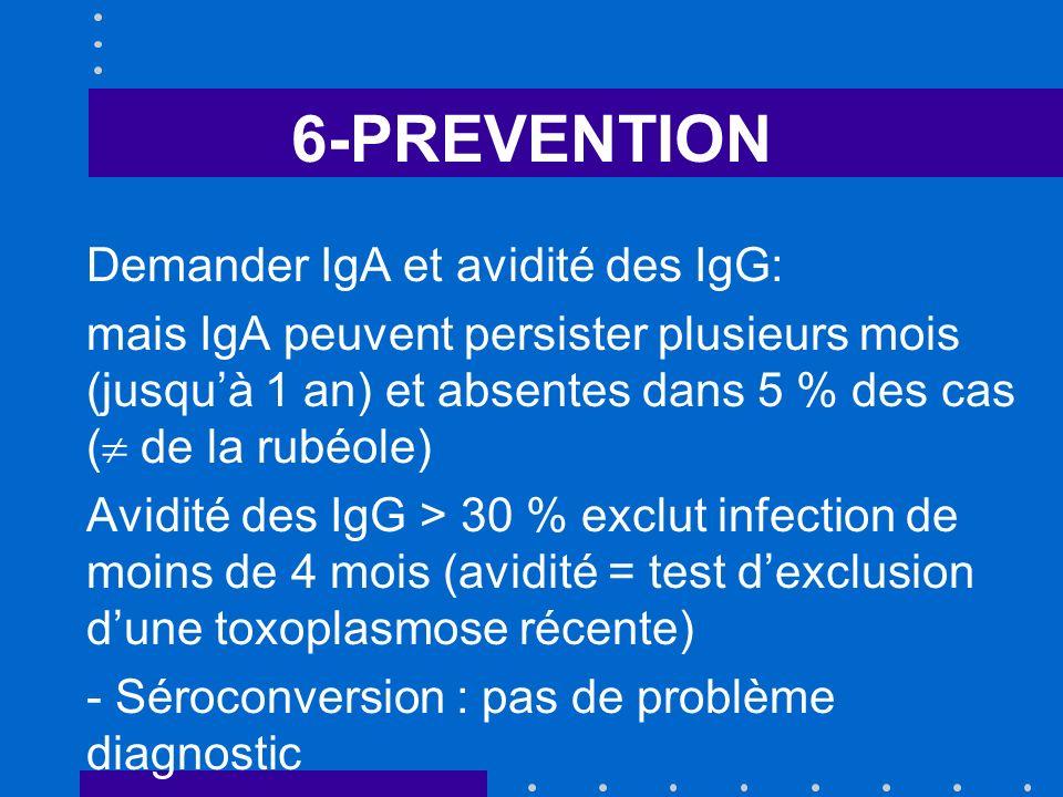 6-PREVENTION Demander IgA et avidité des IgG:
