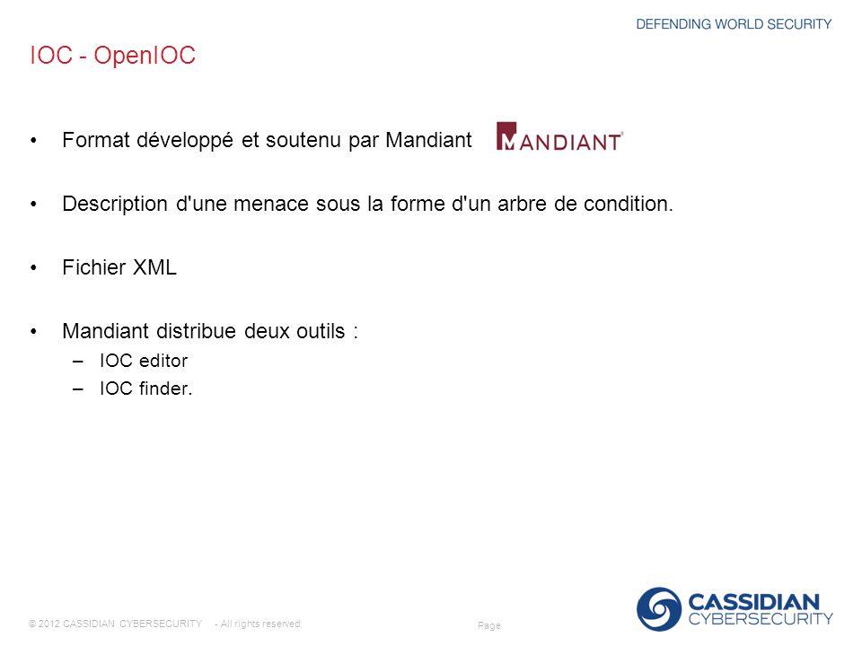 IOC - OpenIOC Format développé et soutenu par Mandiant