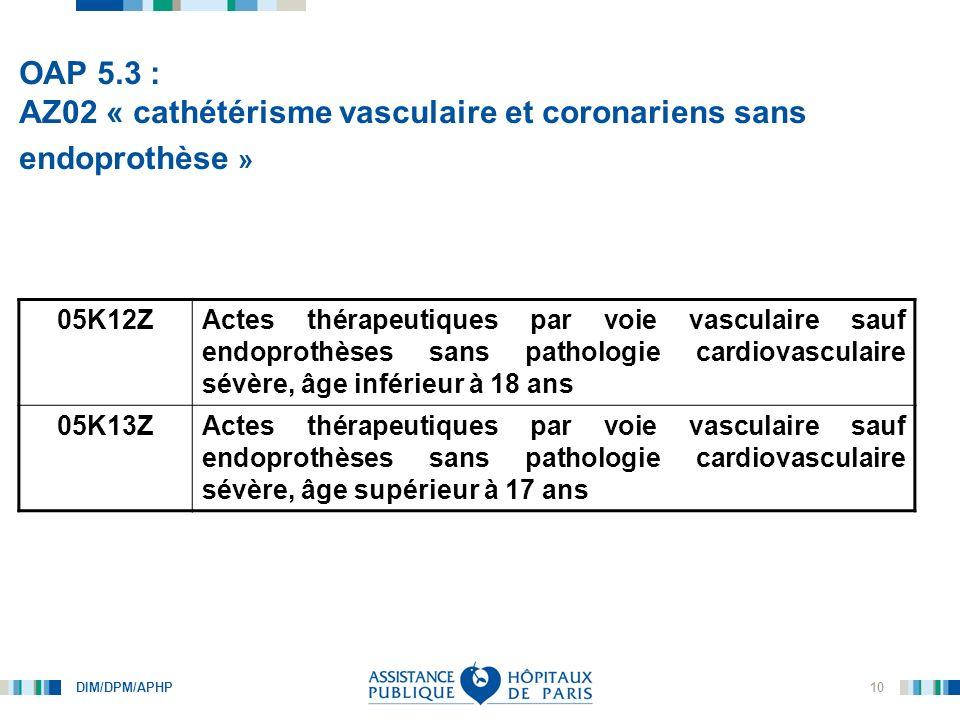 OAP 5.3 : AZ02 « cathétérisme vasculaire et coronariens sans endoprothèse »
