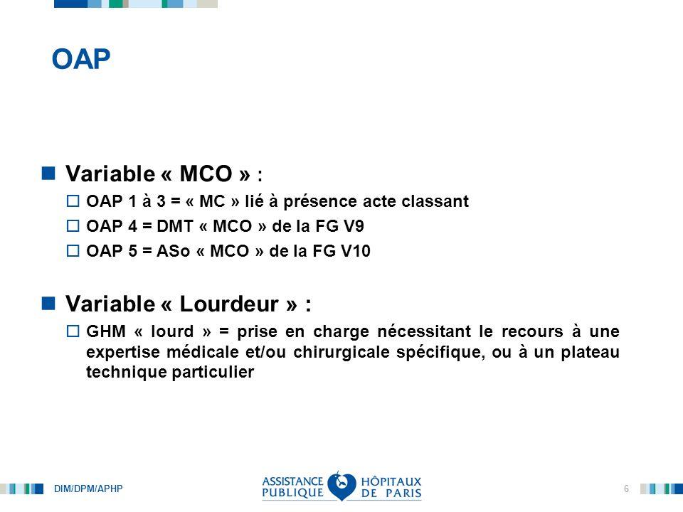 OAP Variable « MCO » : Variable « Lourdeur » :