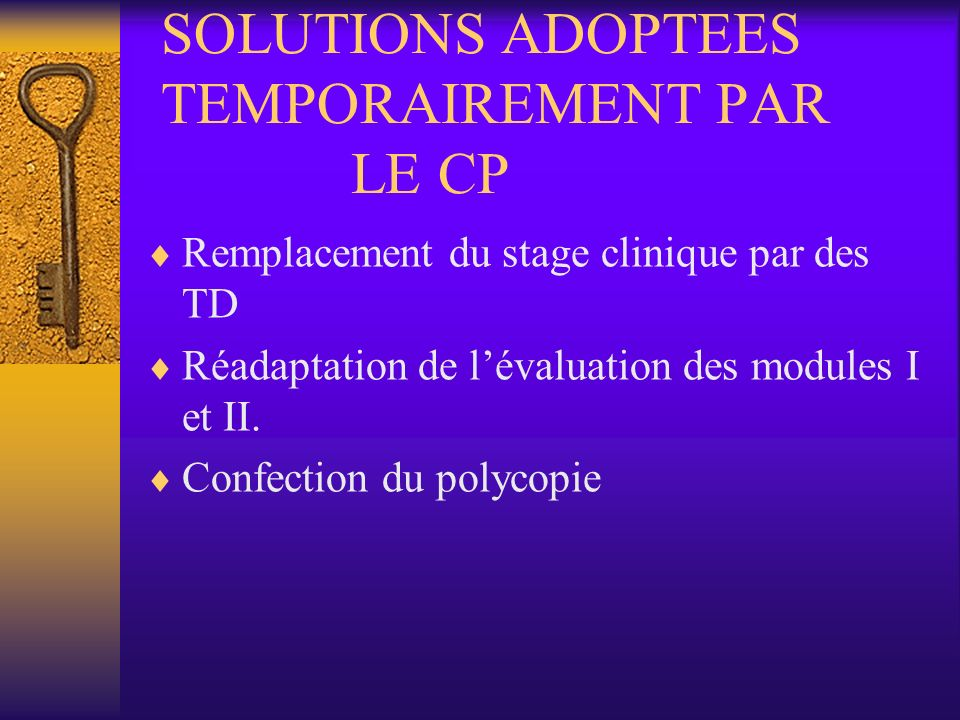 SOLUTIONS ADOPTEES TEMPORAIREMENT PAR LE CP
