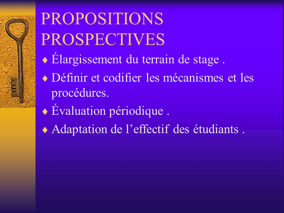 PROPOSITIONS PROSPECTIVES