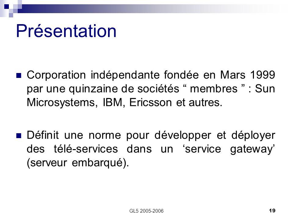Présentation Corporation indépendante fondée en Mars 1999 par une quinzaine de sociétés membres : Sun Microsystems, IBM, Ericsson et autres.