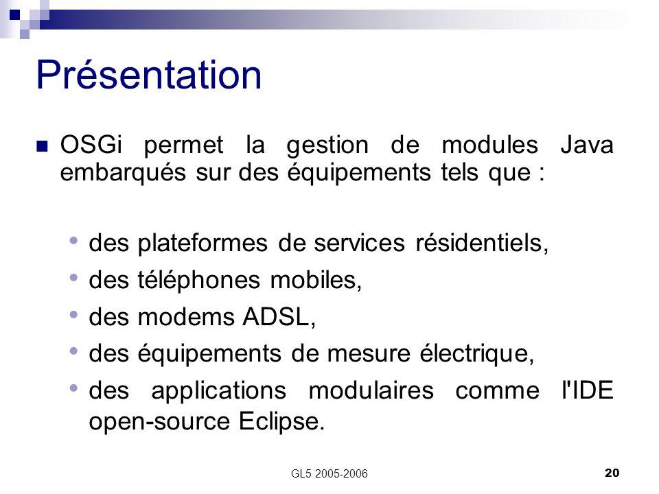 Présentation OSGi permet la gestion de modules Java embarqués sur des équipements tels que : des plateformes de services résidentiels,