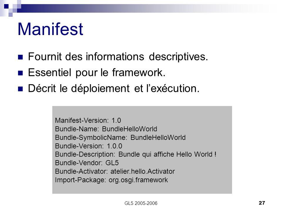 Manifest Fournit des informations descriptives.