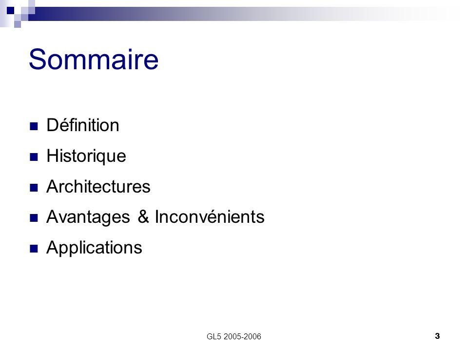 Sommaire Définition Historique Architectures Avantages & Inconvénients