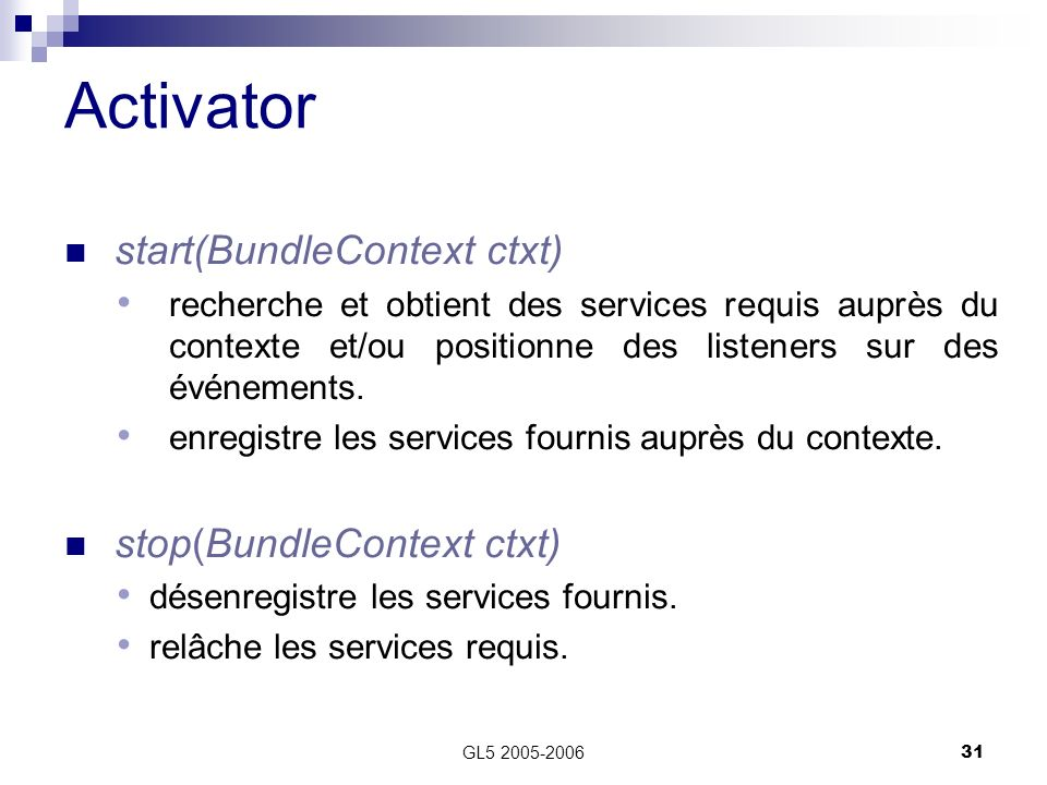 Activator start(BundleContext ctxt) stop(BundleContext ctxt)