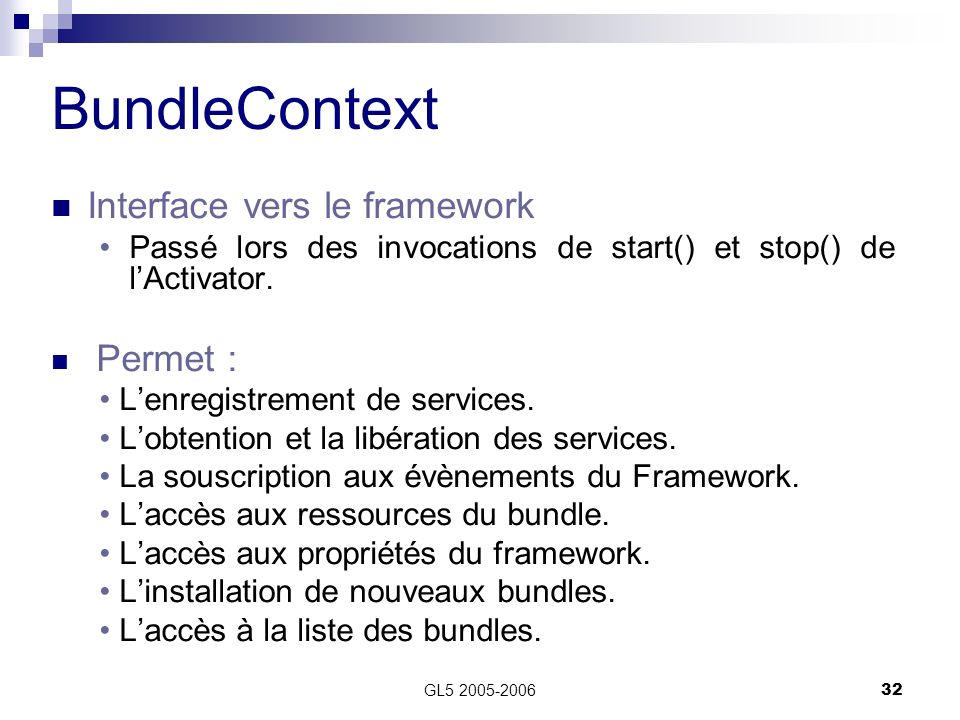 BundleContext Interface vers le framework
