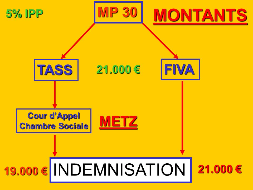 MONTANTS INDEMNISATION MP 30 TASS FIVA METZ 5% IPP 21.000 € 21.000 €