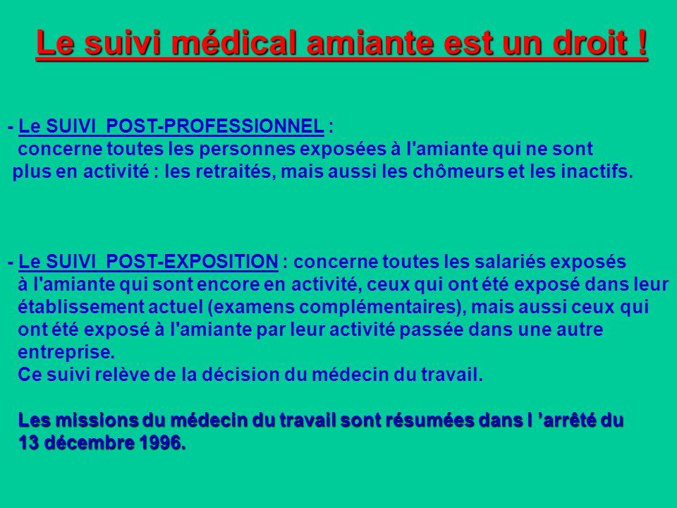 Le suivi médical amiante est un droit !