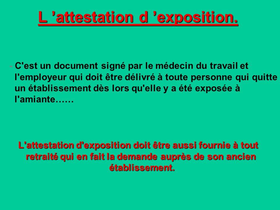 L 'attestation d 'exposition.