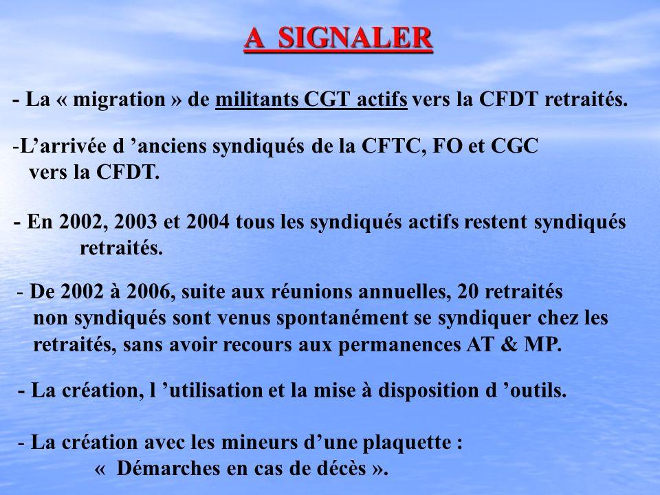 A SIGNALER - La « migration » de militants CGT actifs vers la CFDT retraités. L'arrivée d 'anciens syndiqués de la CFTC, FO et CGC.