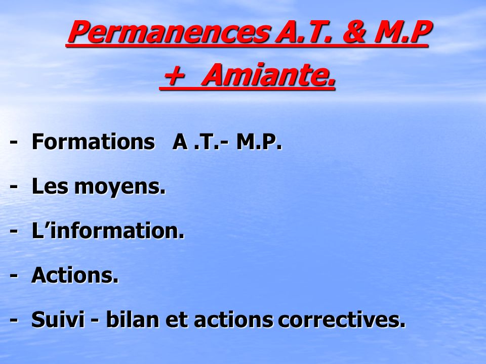 Permanences A.T. & M.P + Amiante.