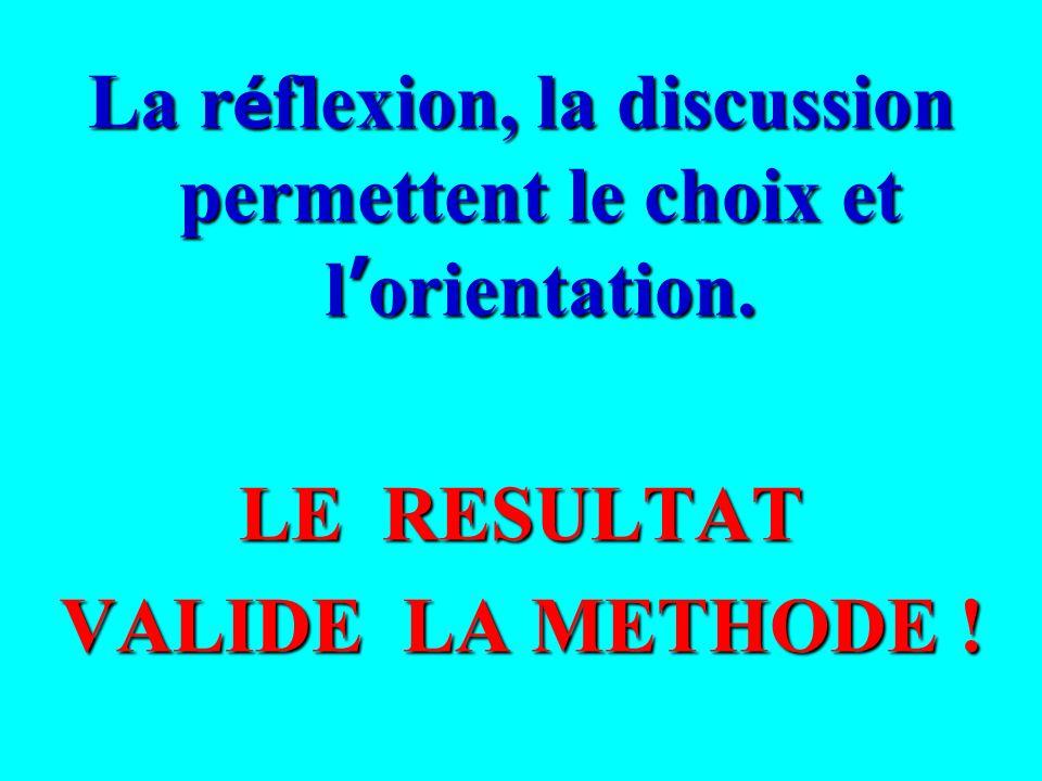 La réflexion, la discussion permettent le choix et l'orientation.