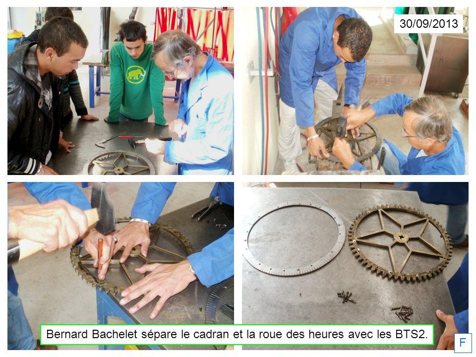 Bernard Bachelet sépare le cadran et la roue des heures avec les BTS2.