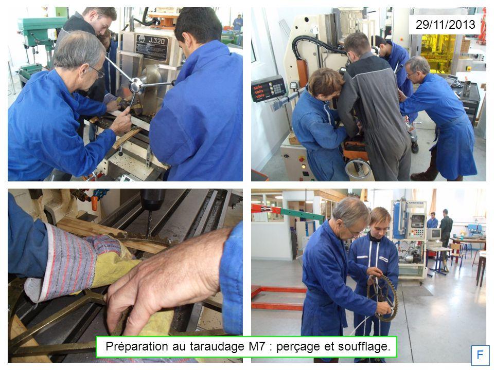 Préparation au taraudage M7 : perçage et soufflage.