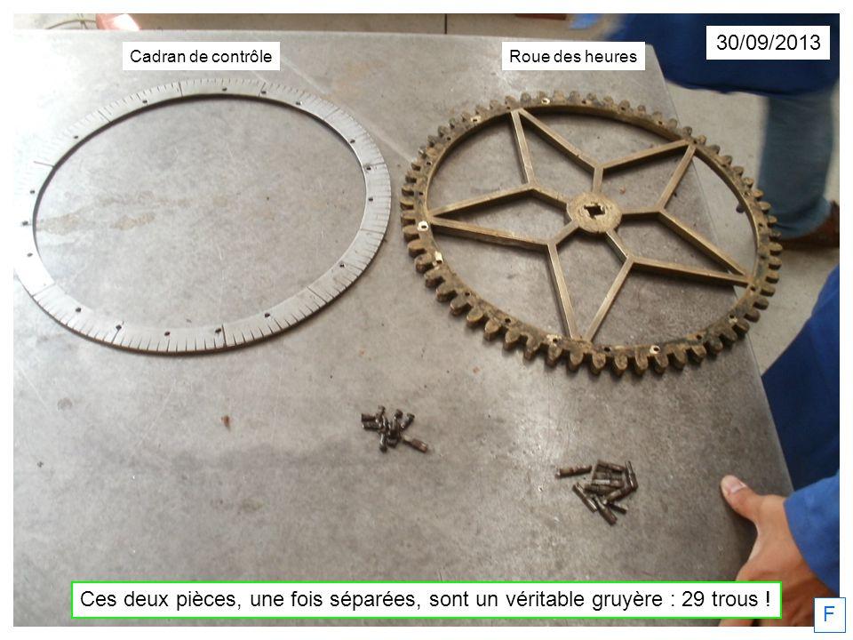 30/09/2013 Cadran de contrôle. Roue des heures. Ces deux pièces, une fois séparées, sont un véritable gruyère : 29 trous !