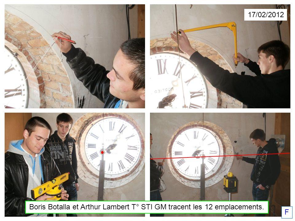 Boris Botalla et Arthur Lambert T° STI GM tracent les 12 emplacements.