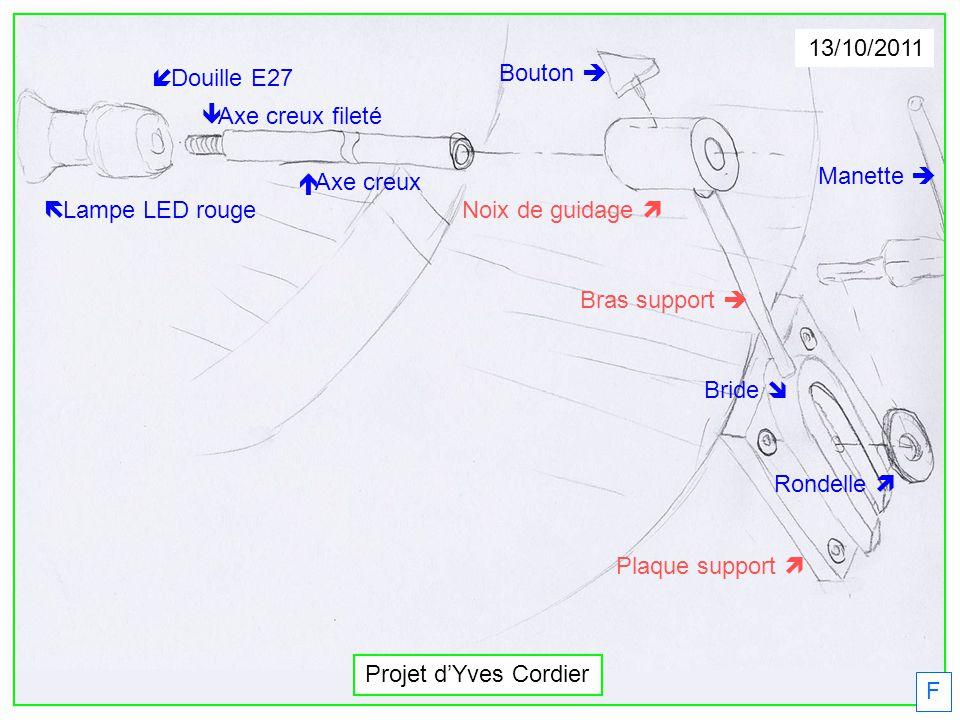 13/10/2011 í Douille E27. Bouton è. ê Axe creux fileté. Manette è. é Axe creux. ë Lampe LED rouge.