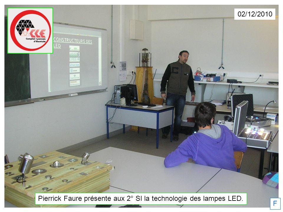 Pierrick Faure présente aux 2° SI la technologie des lampes LED.