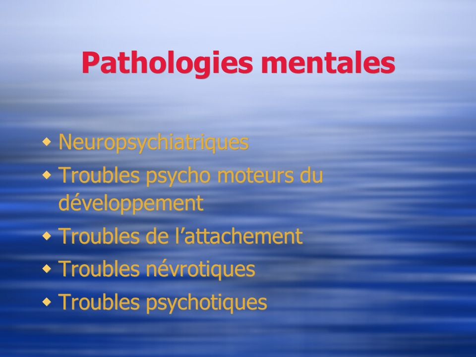 Pathologies mentales Neuropsychiatriques