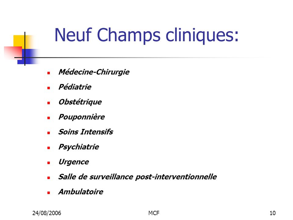 Neuf Champs cliniques: