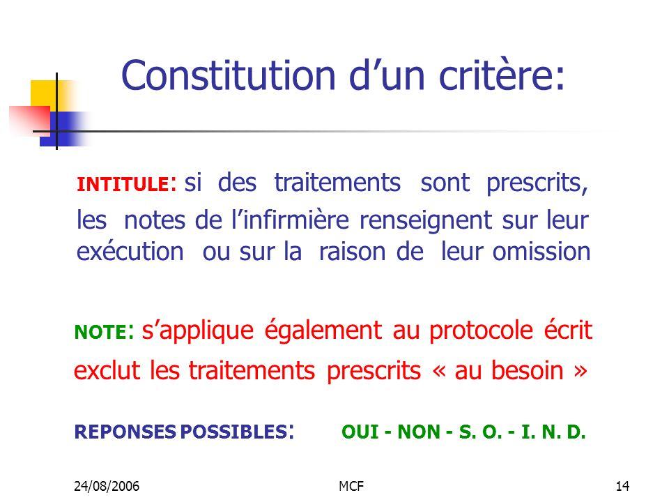 Constitution d'un critère: