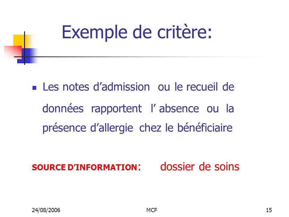 Exemple de critère: Les notes d'admission ou le recueil de