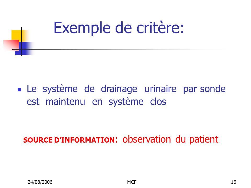 Exemple de critère: Le système de drainage urinaire par sonde est maintenu en système clos.