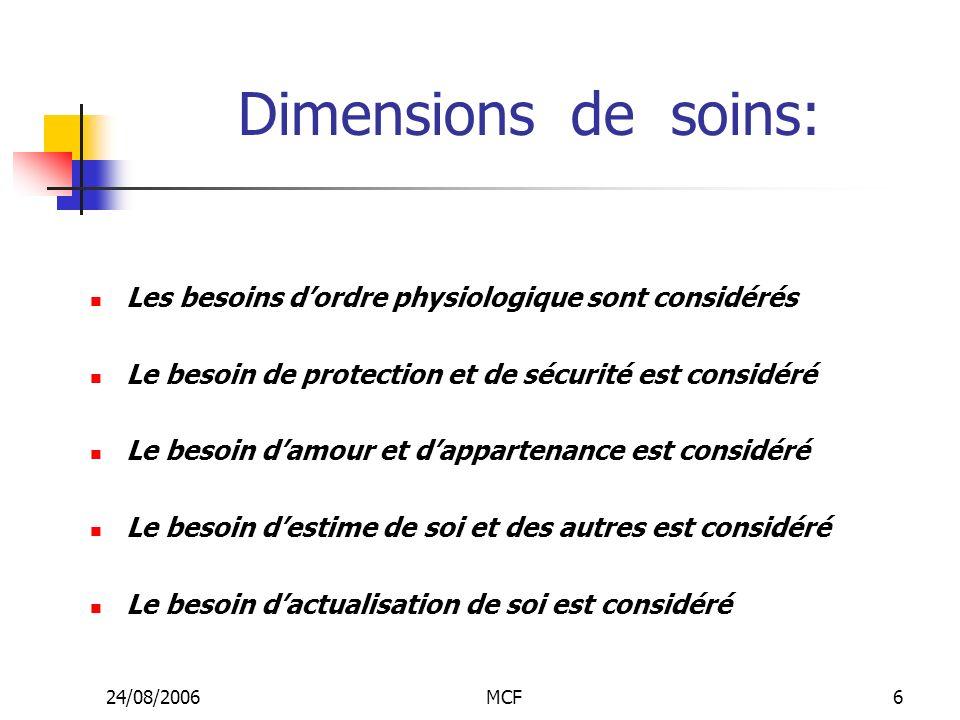 Dimensions de soins: Les besoins d'ordre physiologique sont considérés