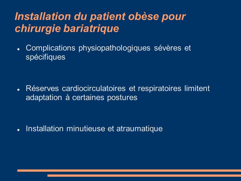 Installation du patient obèse pour chirurgie bariatrique
