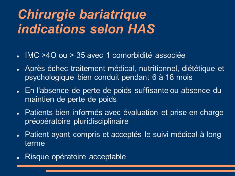 Chirurgie bariatrique indications selon HAS