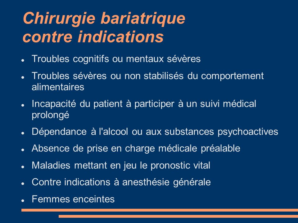 Chirurgie bariatrique contre indications