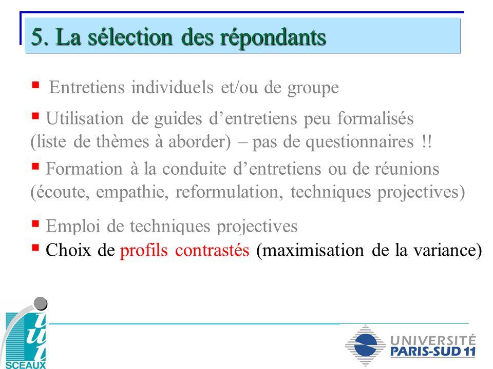 5. La sélection des répondants