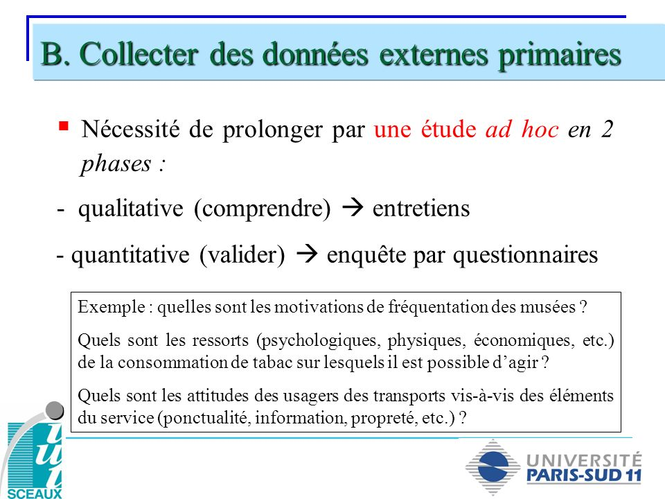 B. Collecter des données externes primaires