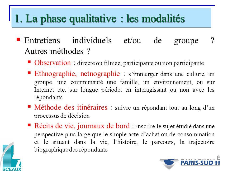 1. La phase qualitative : les modalités