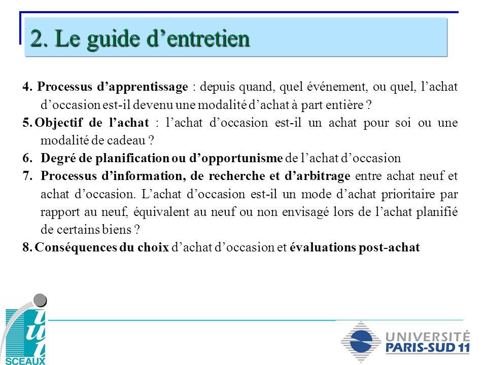 2. Le guide d'entretien