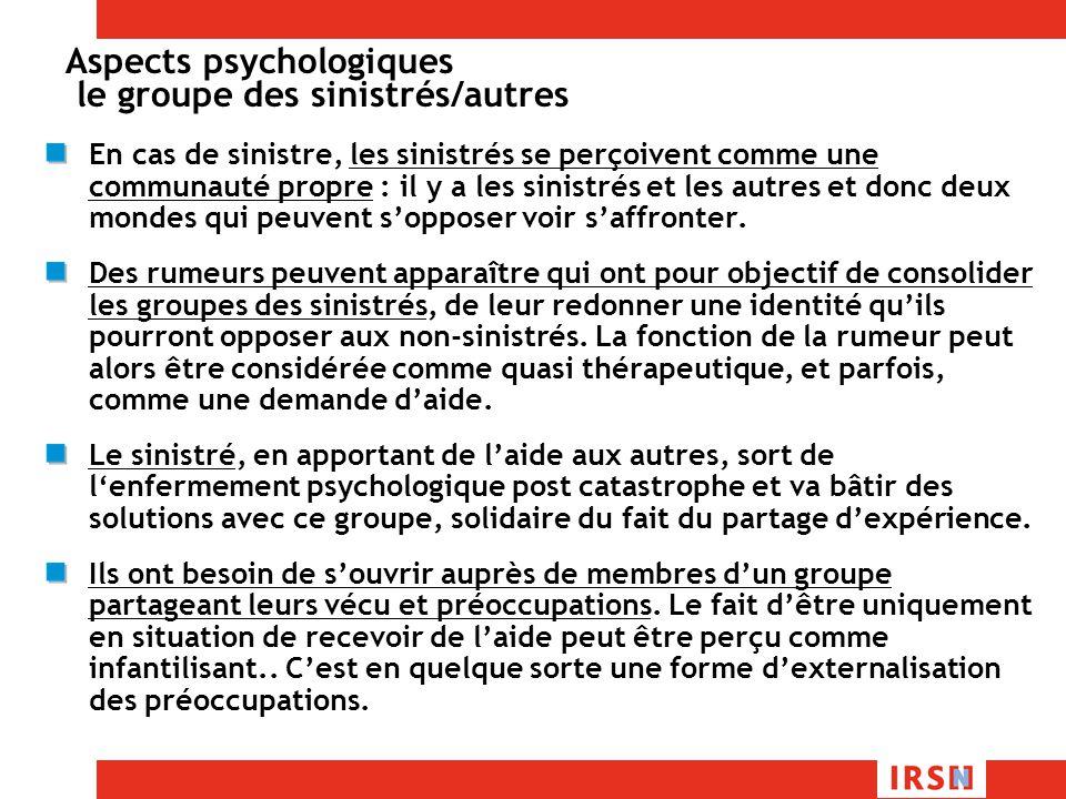 Aspects psychologiques le groupe des sinistrés/autres
