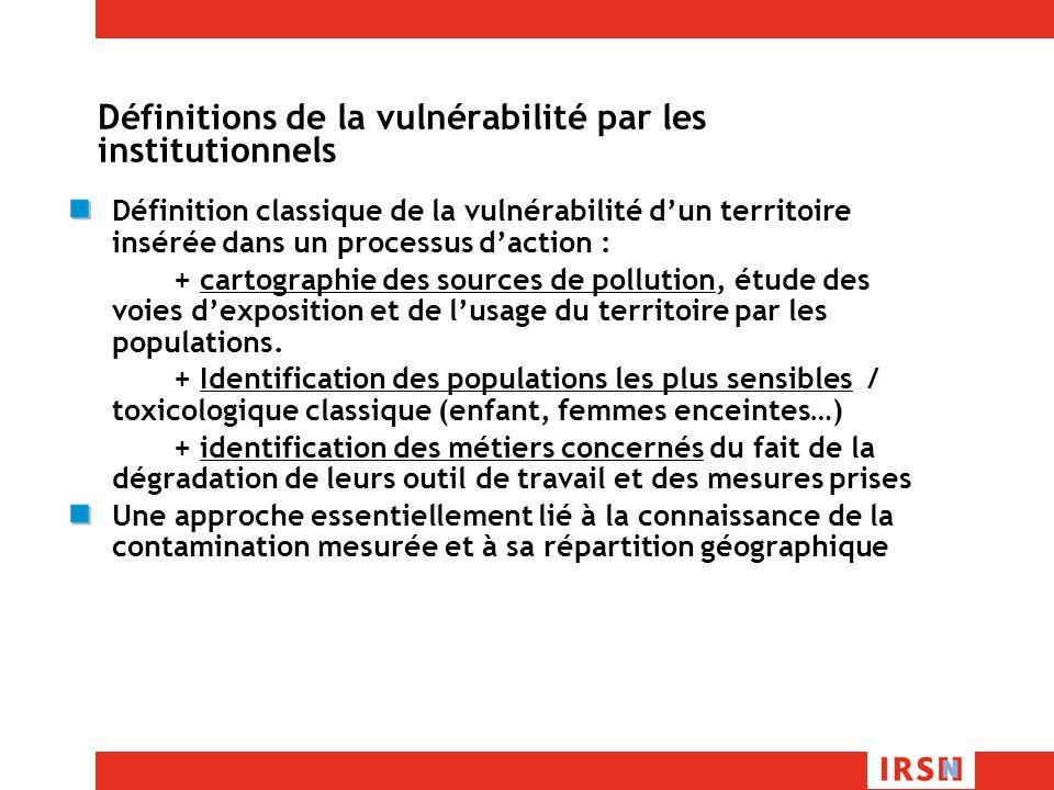 Définitions de la vulnérabilité par les institutionnels