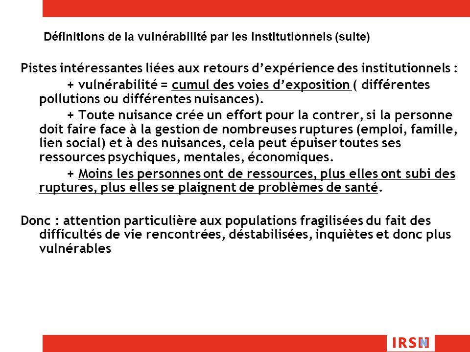 Définitions de la vulnérabilité par les institutionnels (suite)