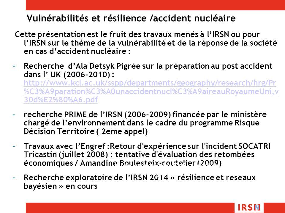 Vulnérabilités et résilience /accident nucléaire