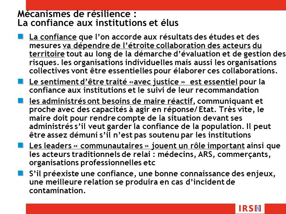 Mécanismes de résilience : La confiance aux institutions et élus
